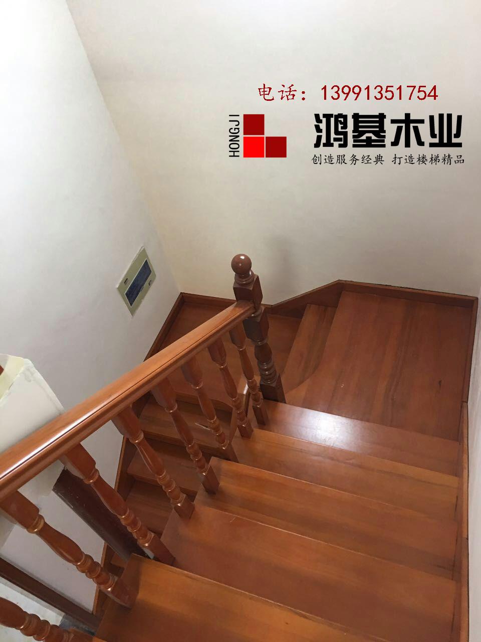 鸿基欧洲红榉木西安厂家直销(封闭漆)实木楼梯-鸿基楼梯