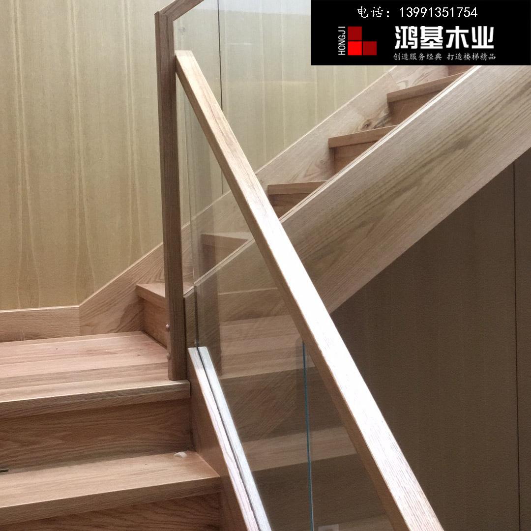 (西安市厂家直销实木楼梯)美国红橡木定制玻璃护栏实木楼梯